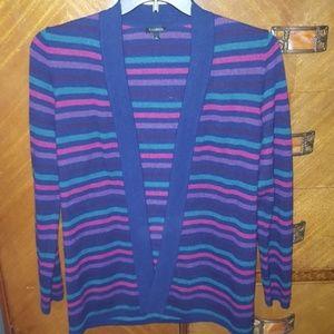 Talbots striped open cardigan, lambswool blend.